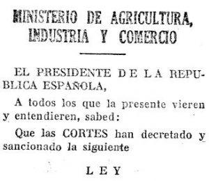 Anuncio en la Gaceta de Madrid de la Ley de Bases de la Reforma Agraria de 1932. Reforma Agraria de la Segunda República Española